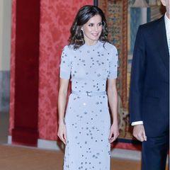 Zu einem Empfang im Februar 2019 zeigte sich die spanische Königin das erste Mal in dem wunderschönen Kleid von Nina Ricci. Das Kleid besticht vor allem durch seine Pastellfarbe, demzarten Taillengürtel und die kleinen 3D-Applikationen, die mitihrer Form an Sterne erinnern. Letizia hat das Kleid im Gegensatz zur Runway-Präsentation etwas abgewandelt.