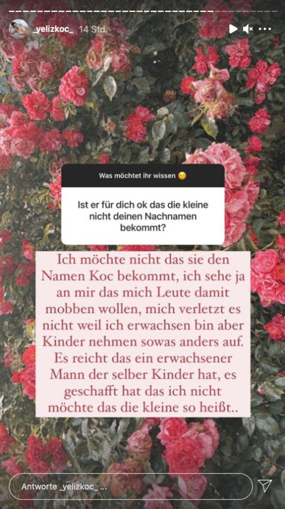 """Yeliz Koc verrät, warum ihre Tochter nicht den Nachnamen """"Koc"""" tragen wird."""