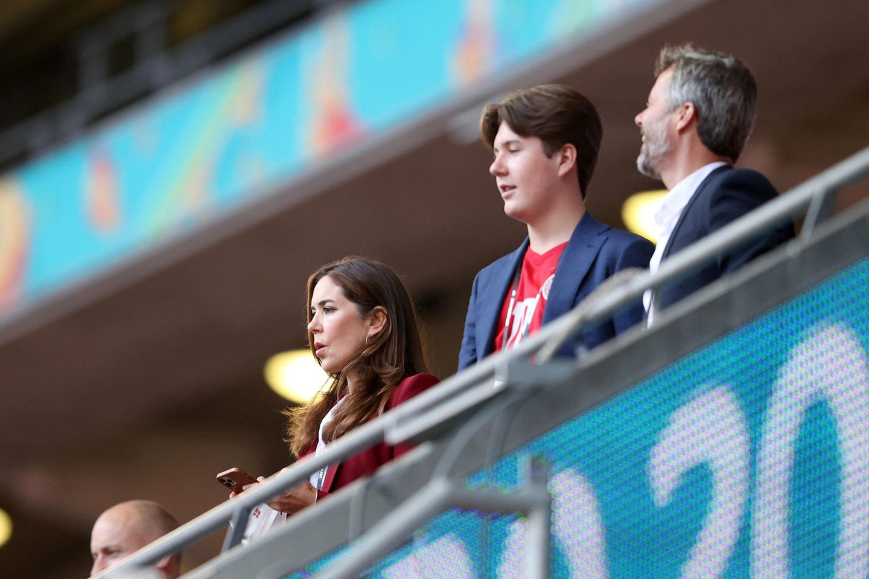 Prinzessin Mary, Prinz Christian und Prinz Frederik im Wembley-Stadion (7. Juli 2021).