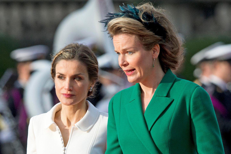 Königin Letizia von Spanien und Königin Mathilde von Belgien