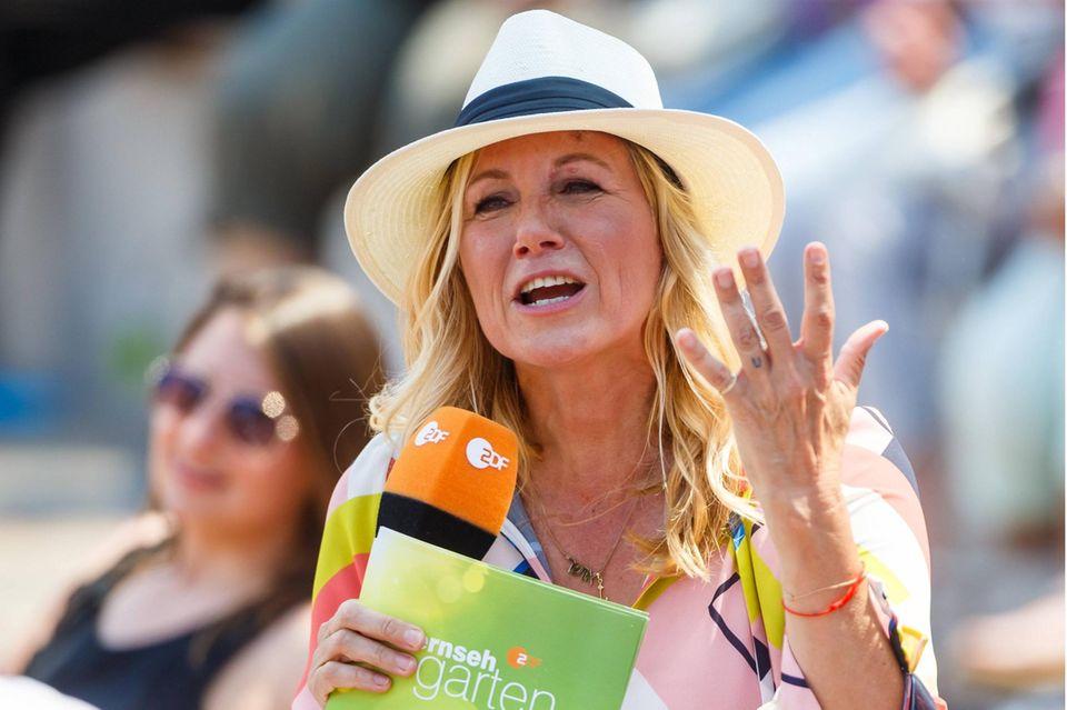 "Andrea Kiewel am02.06.2019 im ""ZDF-Fernsehgarten""."