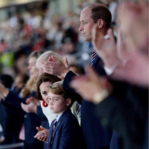 Herzogin Catherine, Prinz George und Prinz William beim EM-Finale im Wembley-Stadion.