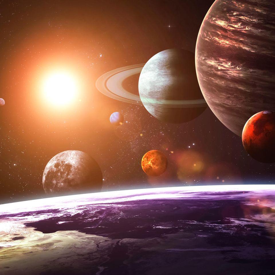 Horoskop: Fünf Planeten nebeneinander im Weltall