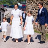 Hand in Hand und farblich abgestimmt erscheinen Prinzessin Victoria und ihre Kids an ihrem 44. Geburtstag. Jedes Jahr ist der Ablauf der Zeremonie gleich und auch ihrem Look bleibt die Thronfolgerintreu. Denn die Prinzessin zeigt sich wie auch zu ihren vorherigen Geburtstagenwieder in Weiß. Dieses Mal in einem wunderschönen Kleid der schwedischen Marke By Malina.