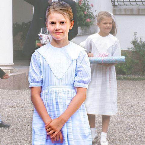 Anlässlich des 44. Geburtstag ihrer Mutter trägt Prinzessin Estelledasselbe Kleid, das Prinzessin Victoria damals schon zu ihrem Kindergeburtstag trug.