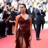 Im kastanienbraunen Leder-Dress von Jean Paul Gaultier erinnert Georgina Rodriguez an eine furchtlose Amazone.