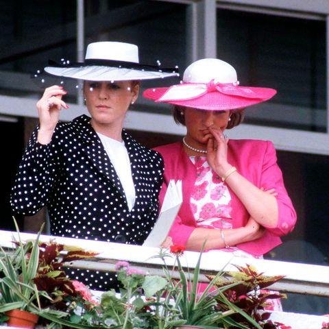 Sarah Ferguson, Herzogin von York und Prinzessin Diana 1987 beim Derby