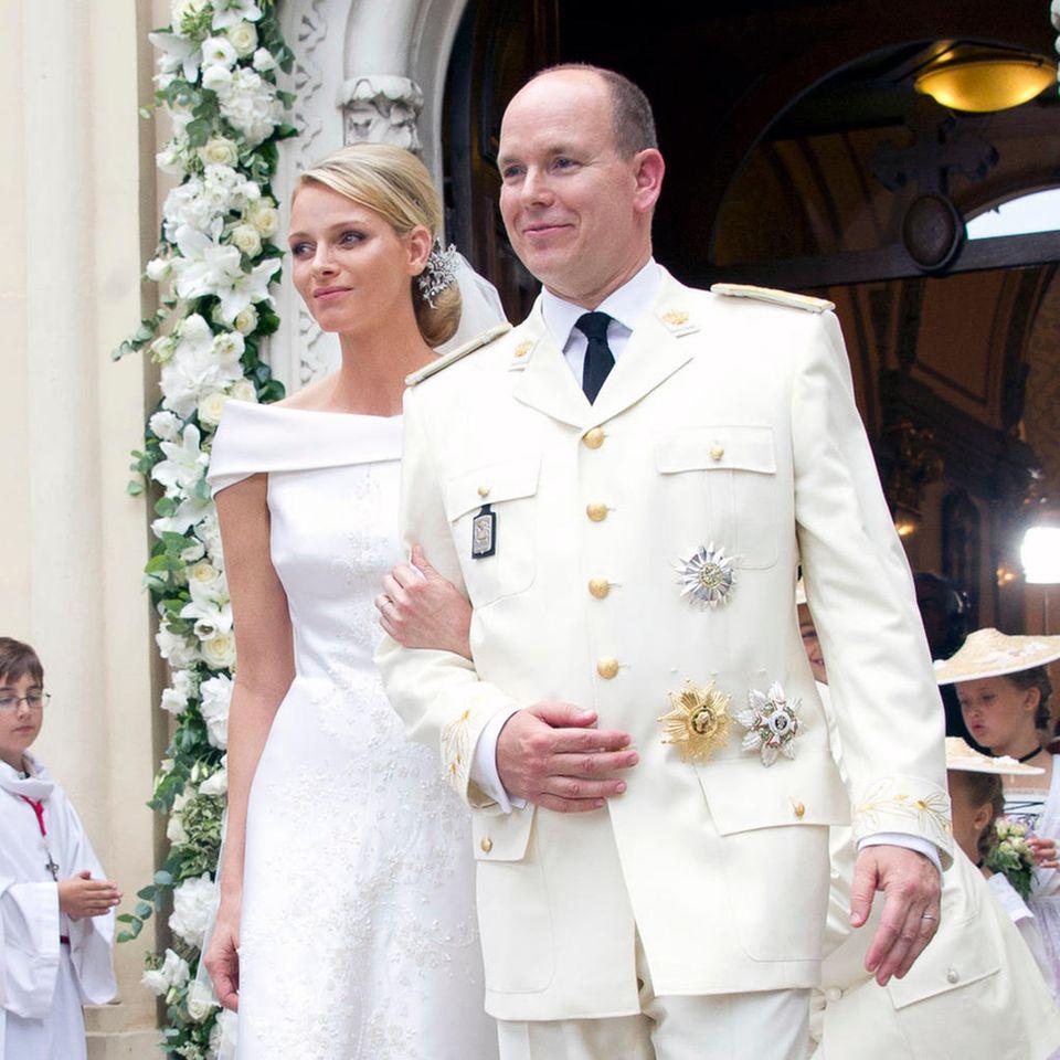 Fürstin Charlène und Fürst Albert bei ihrer kirchlichen Trauung am 2. Juli 2021 in Monaco