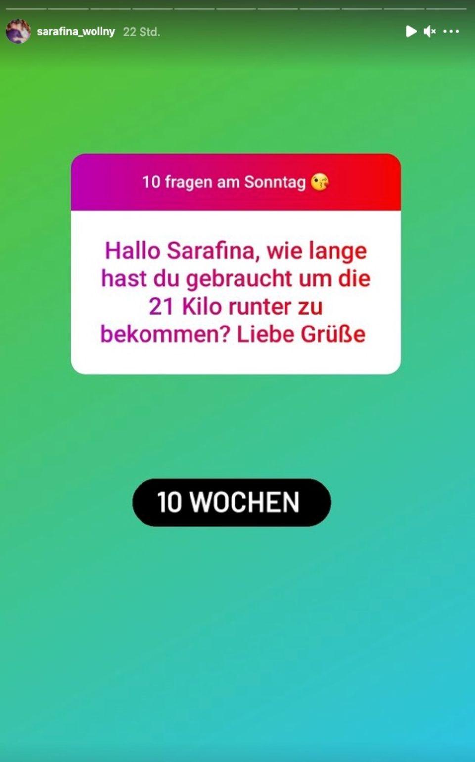 Sarafina Wollny verrät bei Instagram, wie viel sie abgenommen hat