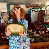"""Das so berühmte """"Dirty Dancing""""-Zitat """"Ich habe eine Wassermelone getragen"""" stellt Jessica Chastain im Italien-Urlaub ganz gekonnt nach."""