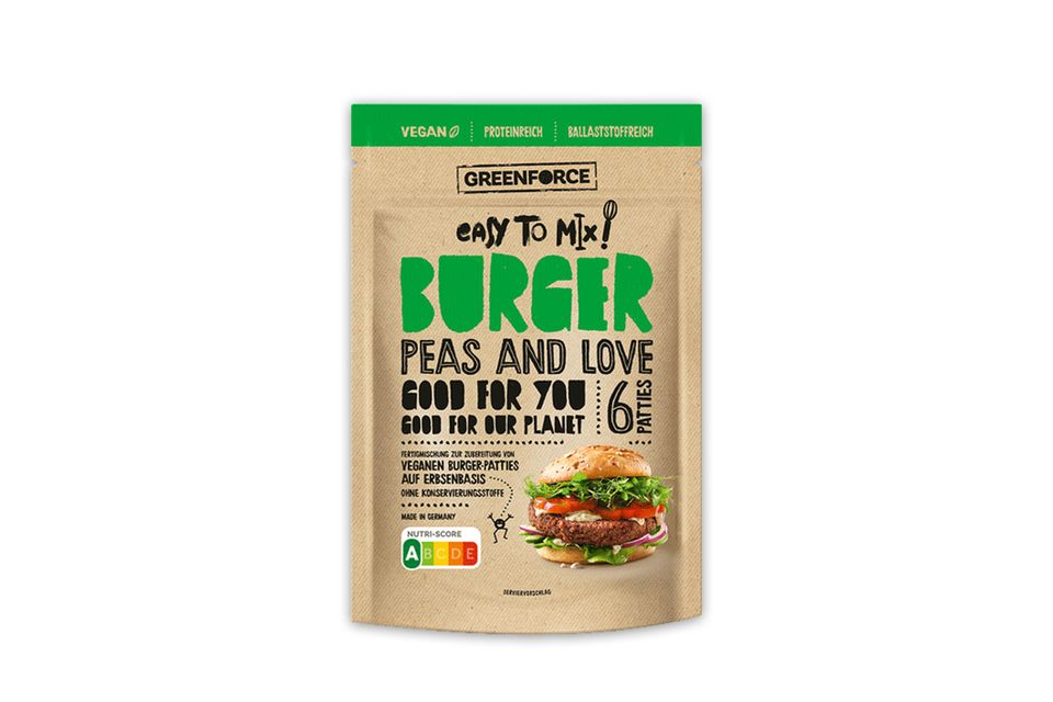 Burgerpatties zum Selberanrühren: Greenforce setzt auf Erbsenprotein und verzichtet auf Soja und Gluten.