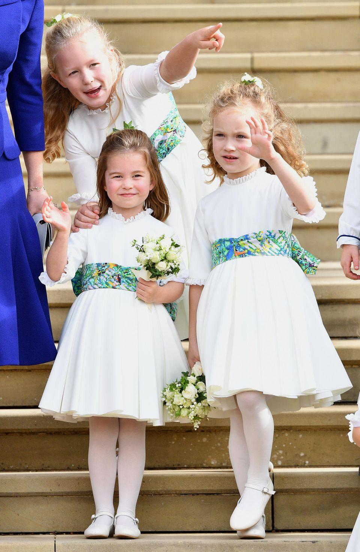 Savannah Phillips, Prinzessin Charlotte undMaud Windsor waren die Blumenmädchen bei der Hochzeit von Prinzessin Eugenie mit Jack Brooksbank am 12. Oktober 2018.