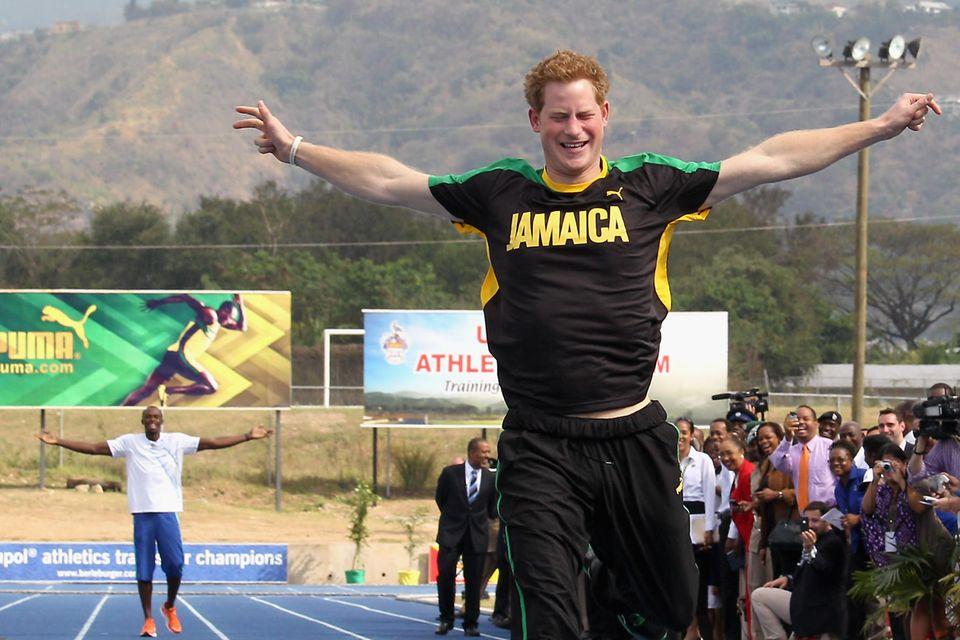 Prinz Harry und Usain Bolt
