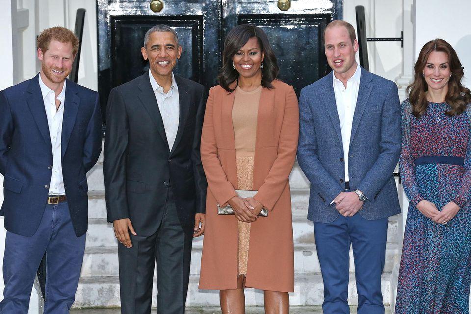 Prinz Harry, Barack Obama, Michelle Obama, Prinz William und Herzogin Catherine beim Dinner im Kensington Palace am 22. April 2016