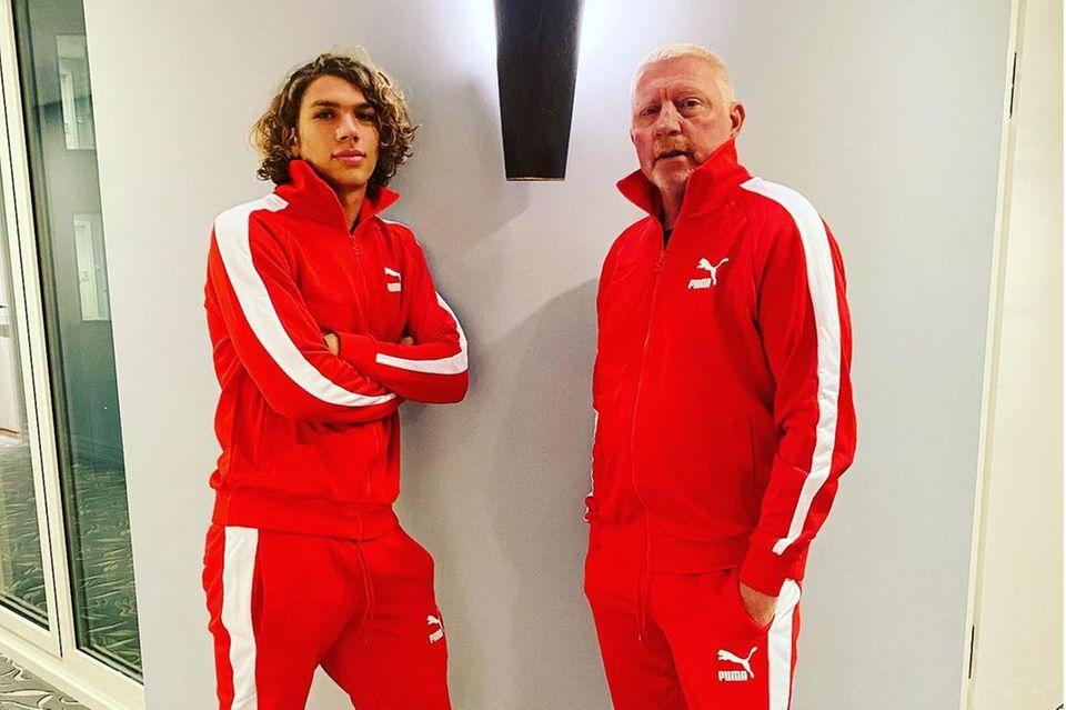 Familie Becker: Boris Becker und Elias Becker im Partnerlook