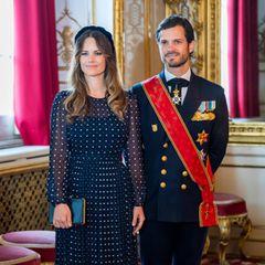 Beim Empfang für dendeutschen Bundespräsidenten in Stockholm zeigt sich Prinzessin Sofia in einem Kleid mit Polka Dots von L.K.Bennett. Dazu kombiniert sie eine dunkelblaueClutch von Susan Szatmáry. Beide Teile hat die Prinzessin schon mal getragen.