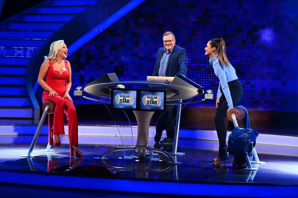 """Evelyn Burdecki und Sophia Thomalla mit Elton bei """"Schlag den Star"""""""