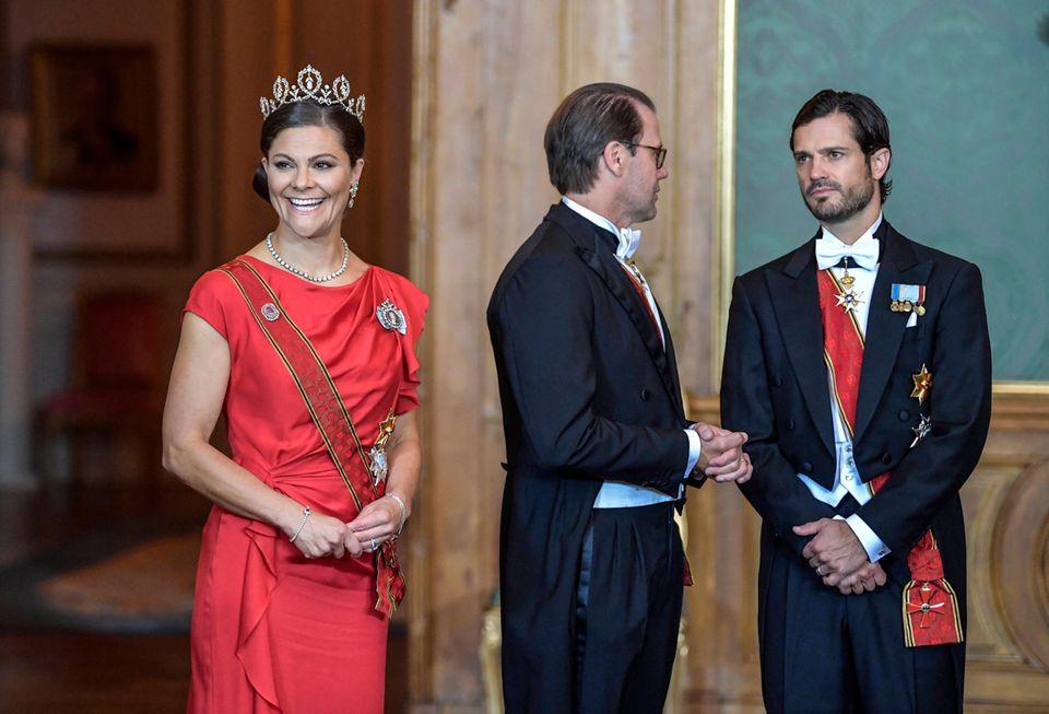 Staatsbankett mit Prinzessin Victoria, Prinz Daniel und Prinz Carl Gustaf
