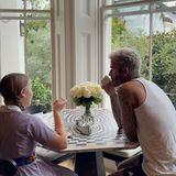 Familie Beckham: Harper und David am Frühstückstisch zum Schulstart