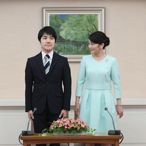 Prinzessin Mako bei der Pressekonferenz anlässlich ihrerVerlobungmit Kei Komuro im September 2017.
