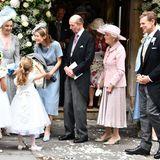 Klassisch in zartem Rosa besucht Prinzessin Alexandra (2.v.r.), Cousine der Queen und Großmutter der Braut, die kirchliche Hochzeit ihrer EnkelinFlora und ihrem Verlobten Timothy Vesterberg.