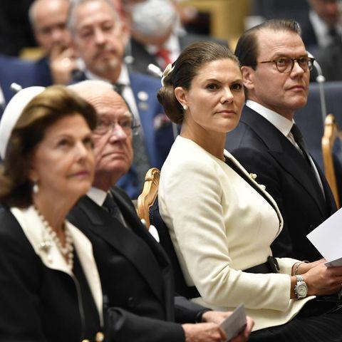 V.l.n.r.: Königin Silvia, König Carl Gustaf, Prinzessin Victoria und Prinz Daniel bei der Parlamentseröffnung am 14. September 2021.