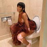 Gezwitscher: Winnie Harlow auf der Toilette nach Met-Party