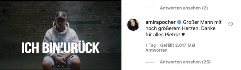 Amira Pocher hinterlässt Worte des Dankes unter Pietro Lombardis Comeback-Video.