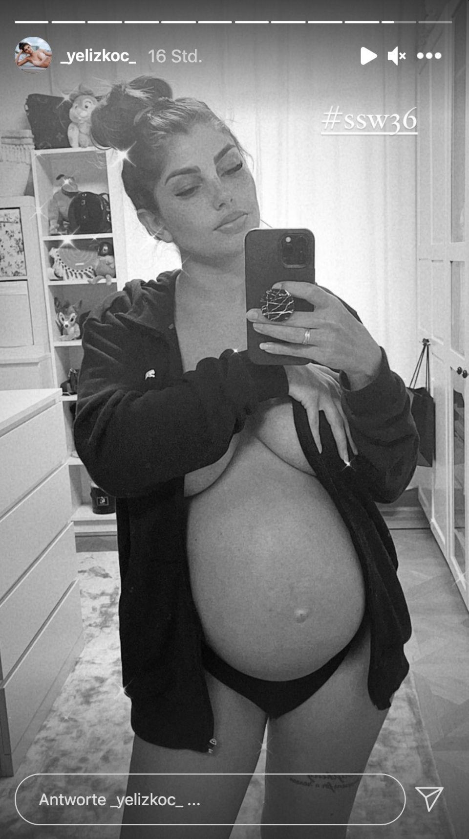 Yeliz Koc präsentiert ihren nackten Babybauch in ihrer Instagram-Story.