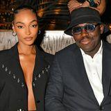 Model Jourdann Dunn und UK-Vogue-Chefredakteur Edward Enninfull verfolgen aus der Front Row die Fashion-Show des Labels Osman