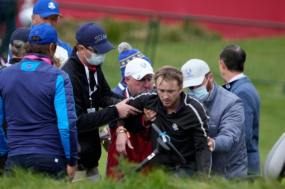 Tom Felton kurz nach seinem Zusammenbruch beim Promi-Golfturnier.