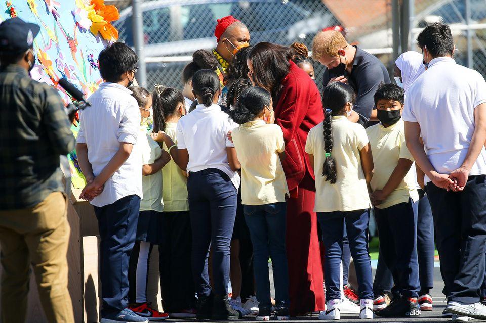 Herzogin Meghan und Prinz Harry bei ihrem Besucheiner Schule im New Yorker Bezirk Harlem