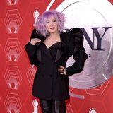 Im exzentrischen Anzug-Look und lilafarbenem Haarstyling hat Cindy Lauper auf dem Red Carpet in New York ihren Spaß.