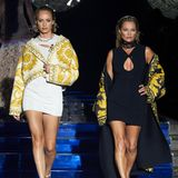 Schauspielerin Amber Valetta und Model Kate Moss meistern gemeinsam den Runway der Fendi x Versace-Show.