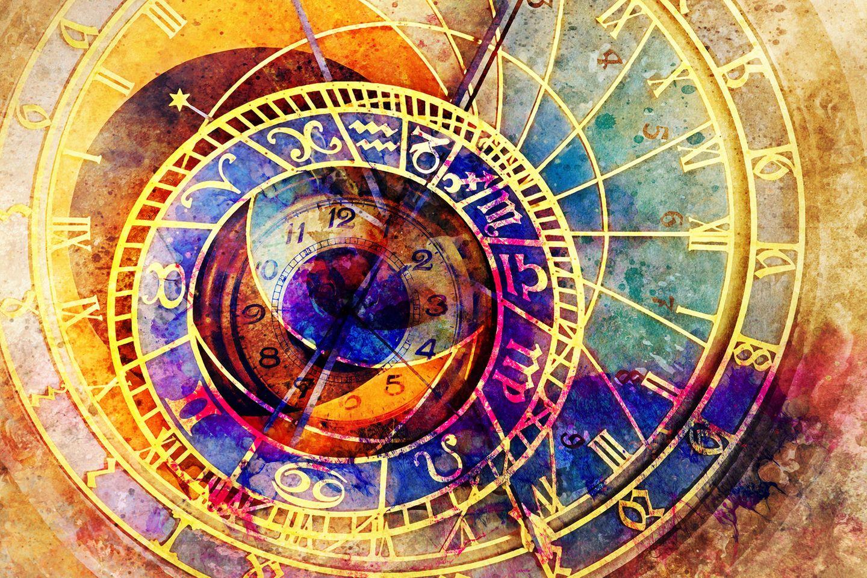 Horoskop:Astrologische Symbole mit einer Uhr