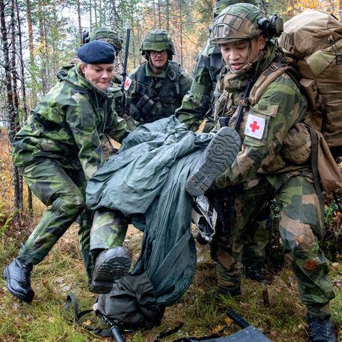 Bei einer Militärübung der schwedischen Nationalgarde