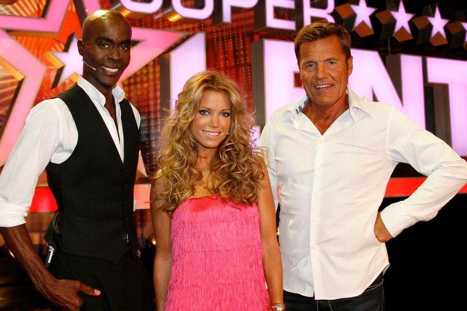 """Bruce Darnell, Sylvie Meis und Dieter Bohlen 2008 als Jury bei """"Das Supertalent"""""""