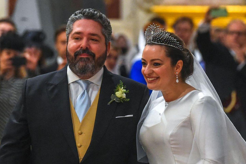 Großfürst Georg Romanow und Rebecca Bettarini heirateten in der Isaakskathedrale in St. Petersburg, Russland.