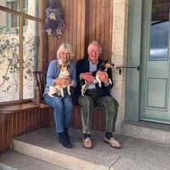 """Stolz halten Herzogin Camilla und Prinz Charles ihre beiden Lieblinge in den Armen: Bluebell und Beth. Die Adoption der Hunde hat die Herzogin dem Tierschutzverein """"Battersea"""" zu verdanken, derihr die süßen Vierbeiner vermittelt hat."""