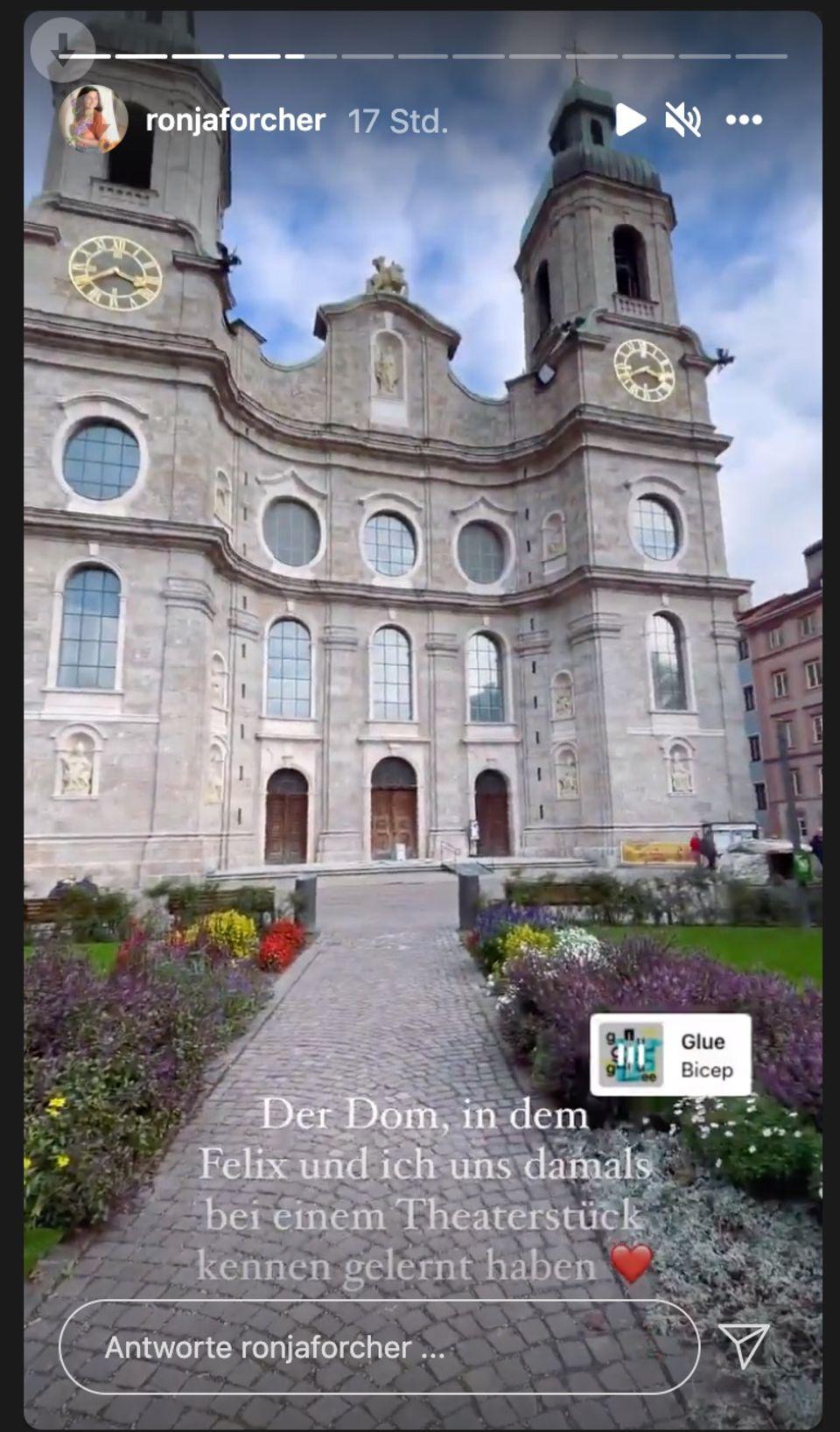 Ronja Forcher zeigt in ihrer Instagram-Story den Ort, an dem sie ihren zukünftigen Ehemann kennenlernte: Der Dom zu St. Jakob in Innsbruck