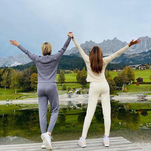 Star-Freundschaften: Monica Ivancan + Jana Ina Zarrella in den Bergen