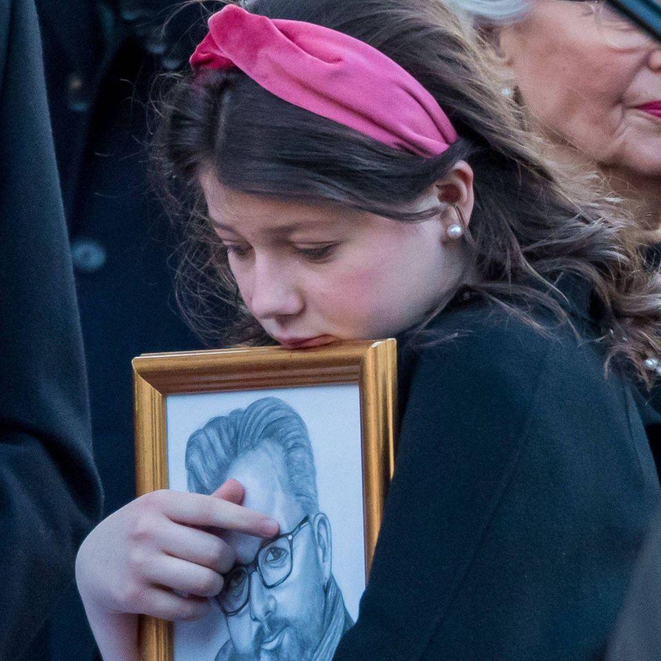 Maud Angelica Behnbei der Trauerfeier für ihren Vater Ari Behn (†47) in der Domkirche in Osloam 3. Januar 2020.
